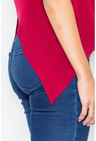 Bordowa bluzka z Krótkim Rękawem z Wycięciem z Tyłu