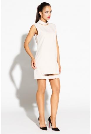 Beżowa Sukienka Mini z Wycięciami