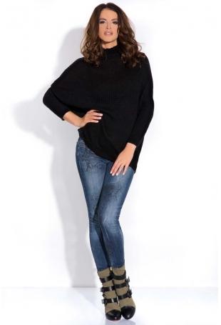 Czarny Sweter z Niskim Golfem