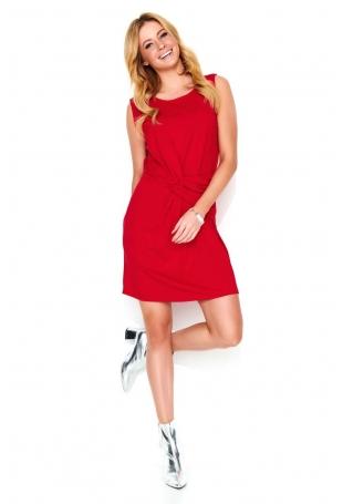 Czerwona Krótka Sukienka z Efektowym Przełożeniem