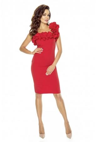 Czerwona Sukienka Koktajlowa z Asymetryczną Falbanką