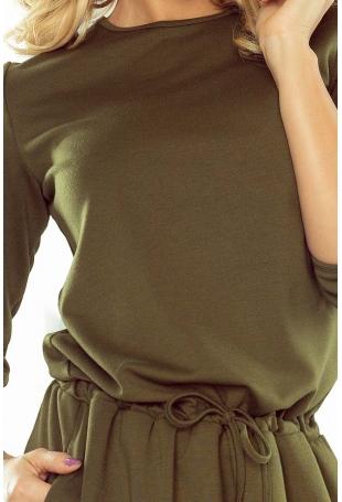 Khaki Sukienka z Wiązaniem w Tali i na Rękawach