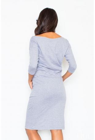 Bawełniana Szara Sukienka ze Ściągaczem