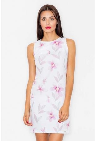 Sukienka we Wzór Kwiaty Odcienie Różu