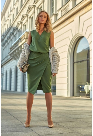 Zielona Wizytowa Sukienka Kopertowa bez Rękawów
