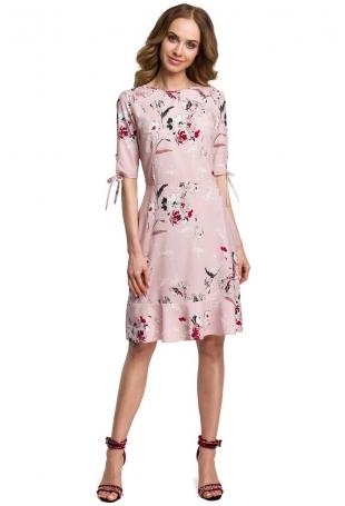 Pudrowa Zwiewna Sukienka w Kwiaty z Falbankami