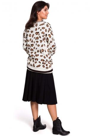 Kremowy Oversizowy Sweter w Lamparcie Cętki