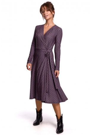 Wzorzysta Sukienka Kopertowa z Długim Rękawem - Model 2