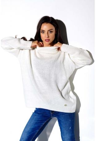 Ecru Oversziowy Sweter z Golfem