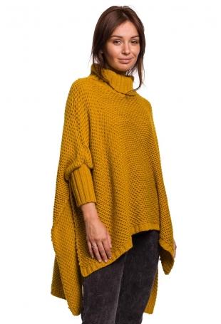 Asymetryczny Sweter-Ponczo z Golfem - Miodowy