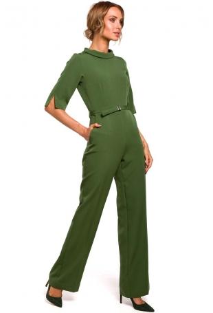 Zielony Elegancki Kombinezon na Stójce z Rękawami do Łokcia