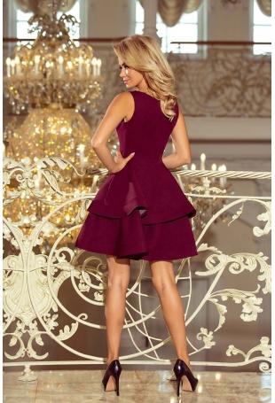 Bordowa Sukienka Rozkloszowana z Podwójną Falbanką