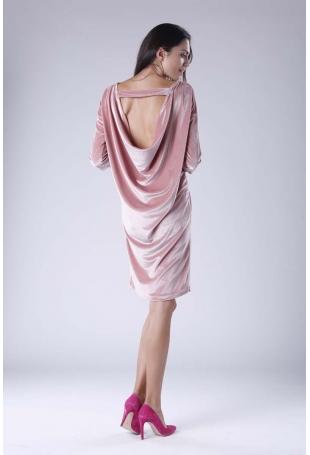Różowa Wyjściowa Sukienka Welurowa z Lejącym Dekoltem na Plecach