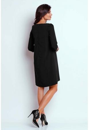 Czarna Wizytowa Sukienka o Linii A z Zakładką