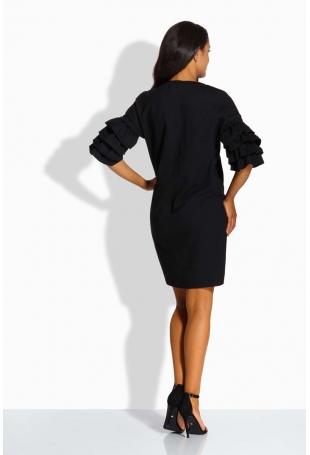 Czarna Sukienka Prosta Mini z Falbankami na Rękawach
