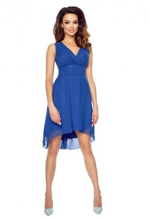 Chabrowa Wyjściowa Sukienka z Kopertowym Dekoltem z Wydłużonym Tyłem