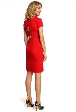Czerwona Ołówkowa Sukienka z Wycięciami na Plecach z Krótkim Rękawem