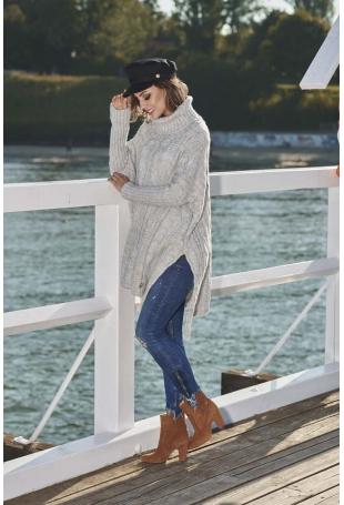Jasnoszary Asymetryczny Swobodny Sweter w Warkocze z Golfem