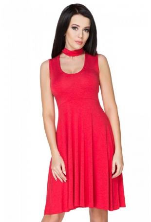 Czerwona Sukienka Wiązana na Karku