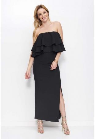 Czarna Sukienka Maxi Wieczorowa z Rozcięciem na Boku