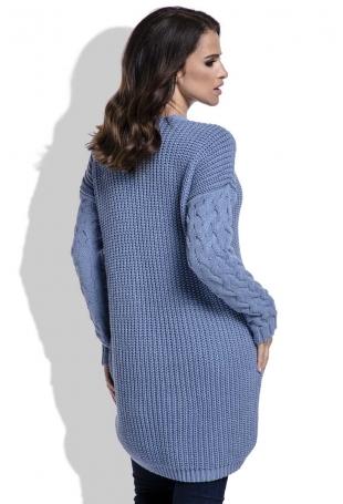 Niebieski Swetrowa Tunika w Serek z Warkoczami