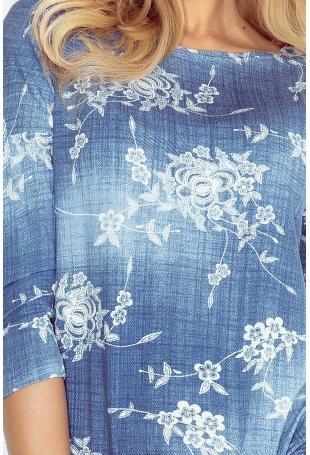 Sukienka Ściągana w Drobne Kwiaty w Kolorze Jeansowym