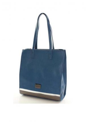 Niebieska Prostokątna Torba Typu Shopper z Lamówką