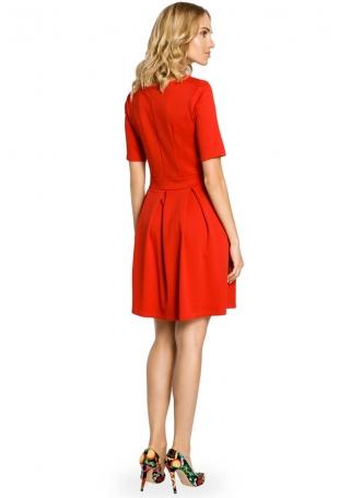 Czerwona Szeroka Sukienka z Rękawem do Łokcia
