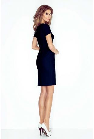 Granatowa Klasyczna sukienka Mini z Krótkim Rękawem