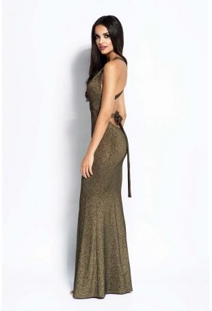 Złota Sukienka Syrena z Odkrytymi Plecami