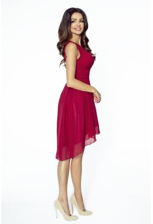 Bordowa Wyjściowa Sukienka z Kopertowym Dekoltem z Wydłużonym Tyłem