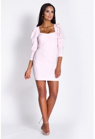 Różowa Koktajlowa Mini Sukienka z Ozdobnym Rękawem