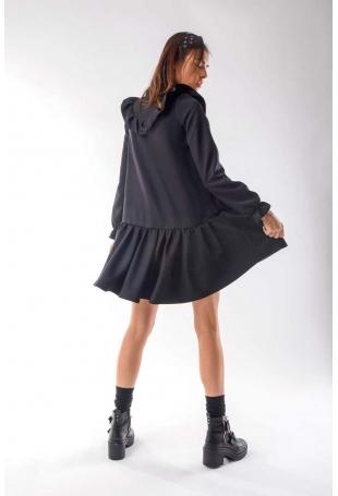 Czarna Zwiewna Krótka Sukienka z Falbankami