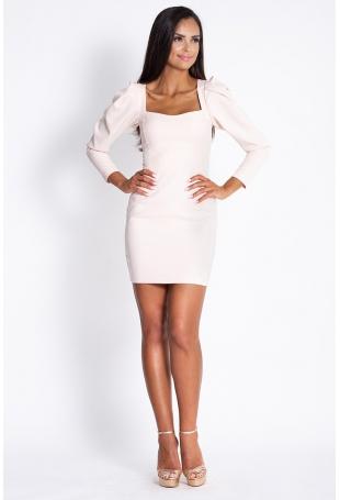 Beżowa Koktajlowa Mini Sukienka z Ozdobnym Rękawem