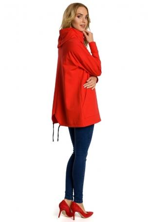 Czerwona Bluza z Nakładanymi Kieszeniami