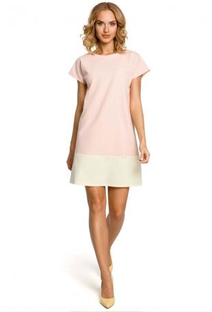 Pastelowa Prosta Mini Sukienka - Pudrowy