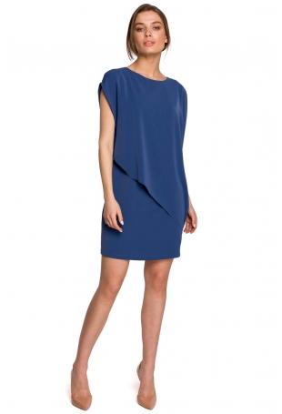 Krótka Dwuwarstwowa Sukienka - Niebieska