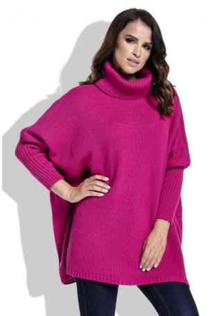 Amarantowy Sweter Ciepły Luźny z Golfem