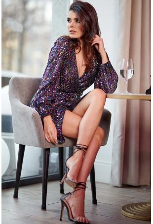 Wieczorowa Sukienka Kopertowa z Cekinami