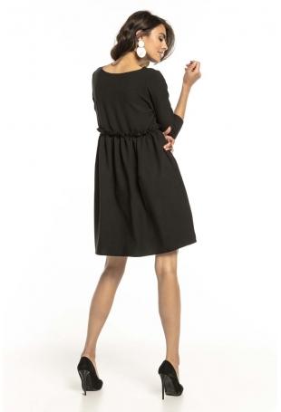 Czarna Krótka Sukienka z Marszczonym Dołem
