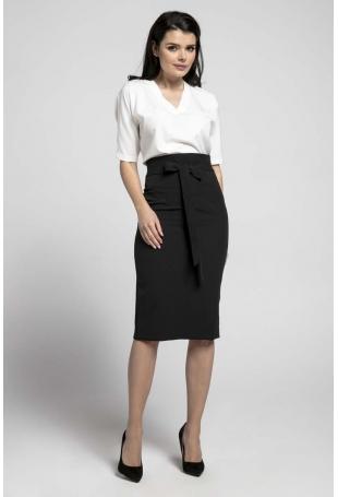 Czarna Elegancka Ołówkowa Spódnica z Ozdobną Kokardą