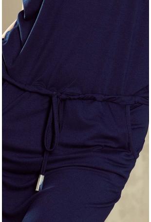 Granatowa Sukienka w Sportowym Stylu z Kieszeniami
