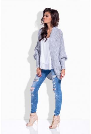 Jasnoszary Sweter Luźny bez Zapięcia