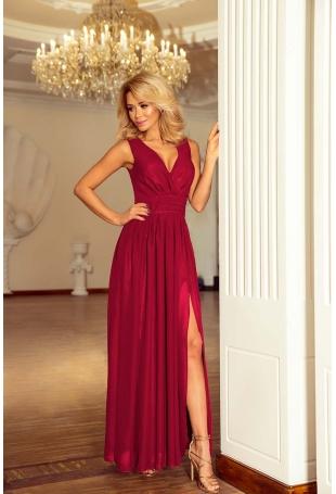 Śliwkowa Sukienka Wieczorowa Maxi z Dekoltem V