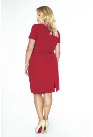 Czerwona Elegancka Sukienka Plus Size z Założeniem Kopertowym
