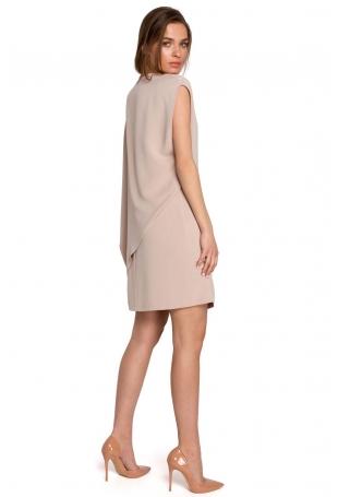 Krótka Dwuwarstwowa Sukienka - Beżowa