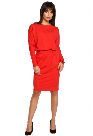 Czerwona Sukienka z Gumką w Pasie