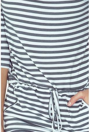 Sukienka w Szare Paski Ściągana w Pasie