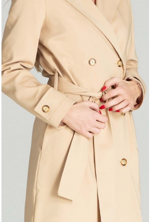 Dwurzędowy Płaszcz Trencz z Paskiem - Beżowy