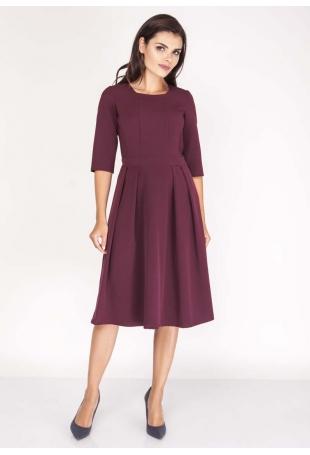 Bordowa Sukienka z Rozkloszowanym Dołem